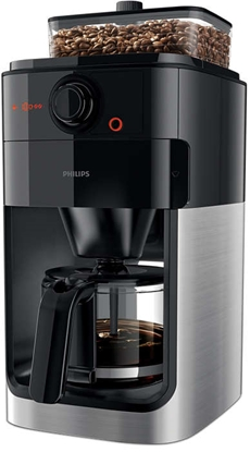 Изображение Philips Grind & Brew Coffee maker HD7767/00 With glass jug Integrated coffee grinder Black & metal With timer