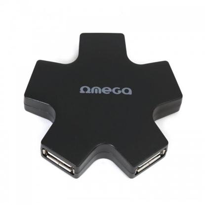 Изображение Omega OUH24SB USB Hub 1 x 5 Splitter Box Black (Star)