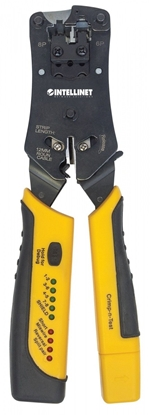 Изображение Intellinet Universal Modular Plug Crimping Tool and Cable Tester, 2-in-1 Crimper and Cable Tester: Cuts, Strips, Terminates and Tests, RJ45/RJ11/RJ12/RJ22