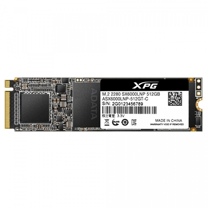 Picture of ADATA XPG SX6000 Lite PCIe Gen3x4 SSD interface M.2 NVME, 512 GB, Write speed 1200 MB/s, Read speed 1800 MB/s