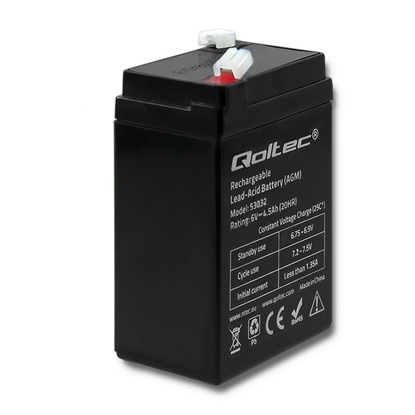 Attēls no Qoltec Battery AGM | 6V | 4.5Ah | max. 1.35A