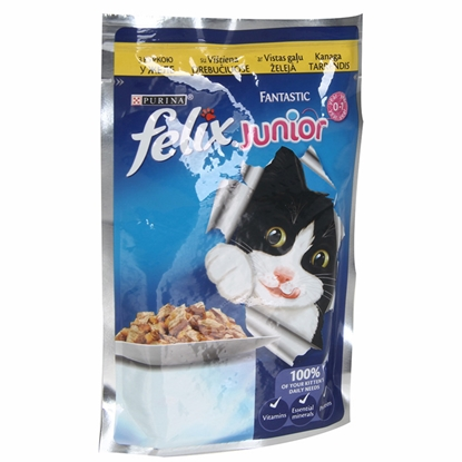 Attēls no Barība kaķiem Felix Fantastic Junior ar vistu 100g