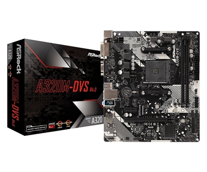 Picture of ASRock A320M-DVS R4.0, AM4, 2xDDR4 3200+, DVI-D, D-Sub, USB3.1