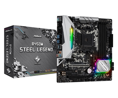 Attēls no ASRock B450M STEEL LEGEND, AM4, DDR4 3533+, 4 SATA3, HDMI, DP, USB3.1
