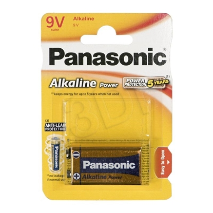 Picture of 1 Panasonic Alkaline Power 9V block