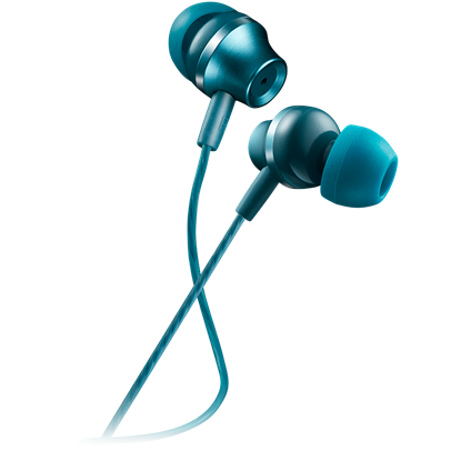 Picture of CANYON Stereo earphones with microphone, metallic shell, 1.2M, blue-green