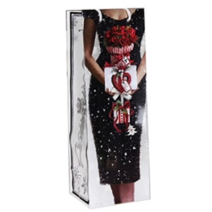 Attēls no Dāvanu maisiņš pudelei X-Mas Lady 12x10x35cm
