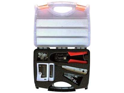 Picture of Zestaw narzędzi instalatorskich w walizce (tester, nóż LSA, zaciskarka, stripper, wtyki RJ45)