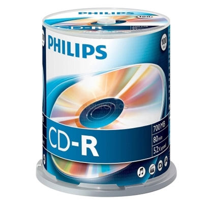 Attēls no PHILIPS CD-R 80 700MB CAKE BOX 100
