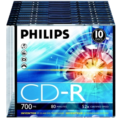 Attēls no PHILIPS CD-R 80 700MB SLIM CASE 10