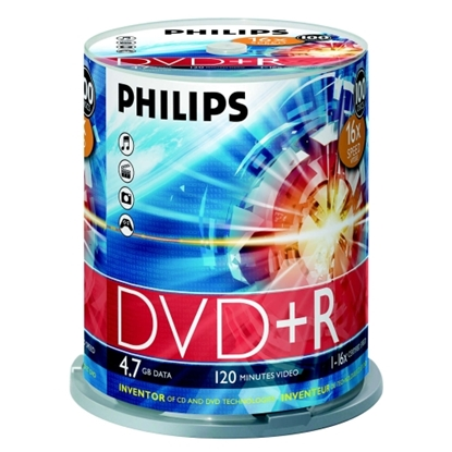 Attēls no PHILIPS DVD+R 4.7GB CAKE BOX 100