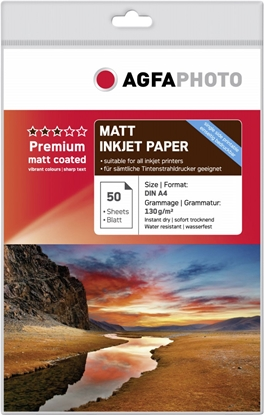 Attēls no AgfaPhoto Premium Matt Coated 130 g A 4 50 Sheets