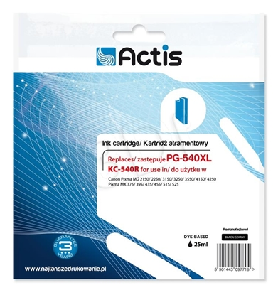 Attēls no Actis black ink cartridge for Canon printer (Canon PG-540XL replacement) standard