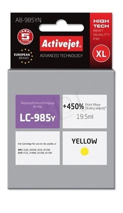 Attēls no Ink Activejet AB-985YN (replacement Brother LC985Y; Supreme; 19,5 ml; yellow)