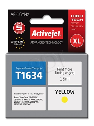 Изображение Ink cartridge Activejet AE-16YNX (replacement Epson 16XL T1634; Supreme; 15 ml; yellow)
