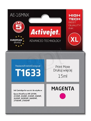 Attēls no Ink cartridge Activejet AE-16MNX (replacement Epson 16XL T1633; Supreme; 15 ml; Magenta)