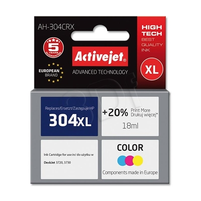 Attēls no Ink cartridge Activejet AH-304CRX (replacement HP 304XL N9K07AE; Premium; 18 ml; MultiColor)
