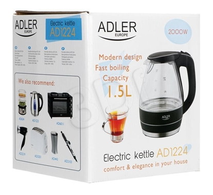 Изображение Adler AD 1224 electric kettle 1.5 L Black,Transparent 2000 W