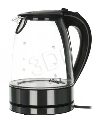 Attēls no Adler AD 1225 electric kettle 1.7 L Black,Stainless steel,Transparent 2000 W