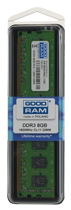 Picture of RAM memory GoodRam PC1600 GR1600D364L11/8G (DDR3 DIMM; 1 x 8 GB; 1600 MHz; 11)