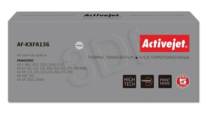Attēls no Foil ink film ribbon Activejet AF-KXFA136 (replacement Panasonic KX-FA136; Supreme; black)