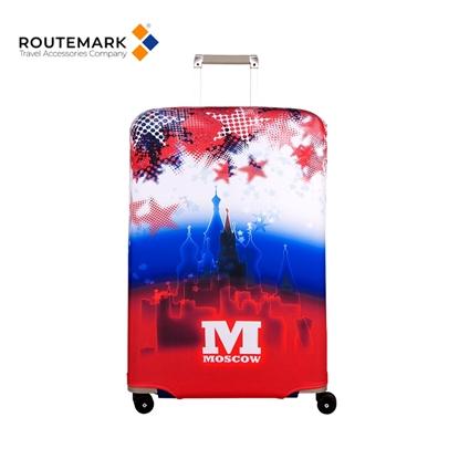 """Изображение Routemark SP240 Mazgājams Premium kvalitātes Aizsargapvalks bagāžas L/XL koferim ar Individuālu dizainu """"Moscow"""" Krāsains"""