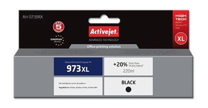 Picture of Activejet AH-973BRX ink for HP printer; HP 973XL L0S07AE replacement; Premium; 220 ml; black