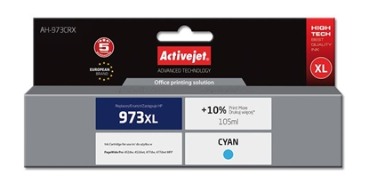 Picture of Activejet AH-973CRX ink for HP printer; HP 973XL F6T81AE replacement; Premium; 105 ml; cyan
