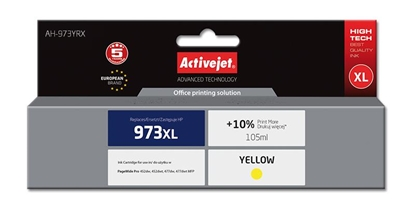 Picture of Activejet AH-973YRX ink for HP printer; HP 973XL F6T83AE replacement; Premium; 105 ml; yellow
