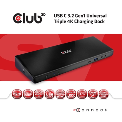 Attēls no CLUB3D CSV-1562 notebook dock/port replicator Docking Black
