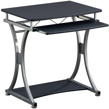 Изображение Techly Compact computer desk 700x550 with sliding keyboard tray black graphite