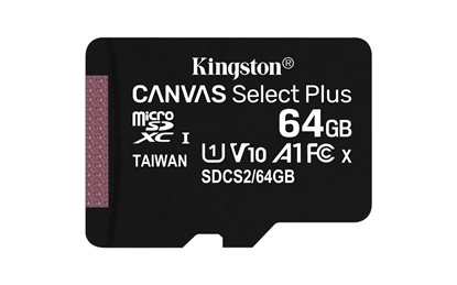 Picture of KINGSTON   64GB micSDXC Canvas Select Plus 100R A1 C10 Single Pack w/o ADP EAN: