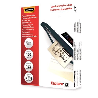 Изображение Fellowes Glossy 125 Micron Card Laminating Pouch  75x105 mm