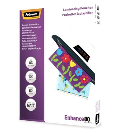 Attēls no Fellowes Matt laminating pouches 80 micron, A3  100-pack
