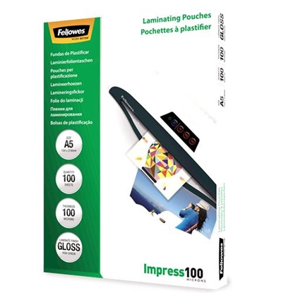 Attēls no Fellowes A5 Glossy 100 Micron Laminating Pouch 100-pack