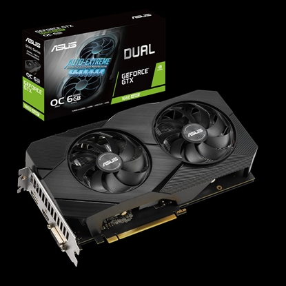 Изображение Asus 1660 DUAL-GTX1660-O6G-EVO  NVIDIA, 6 GB, GeForce GTX 1660, GDDR5, PCI Express 3.0, Processor frequency 1845  MHz, Memory clock speed 8002  MHz, DVI-D ports quantity 1, HDMI ports quantity 1