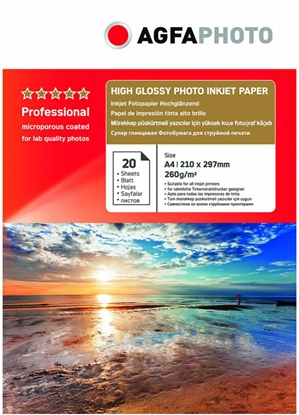 Attēls no AgfaPhoto Professional Photo Paper High Gloss 260 g A 4 20 Bl