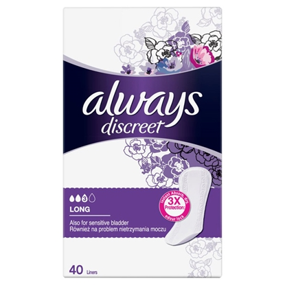 Picture of Hig.ieliktnīši Always Discreet Panty liners Long 40gab