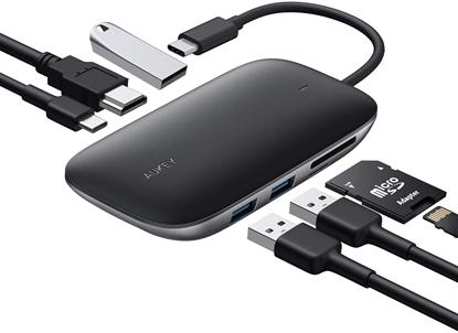 Изображение CB-C68 aluminiowy HUB USB-C | 7w1 | 3xUSB 3.1 | HDMI 4k@30Hz | SD i microSD | USB-C Power Delivery 100W