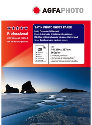 Attēls no AgfaPhoto Professional Photo Paper 260 g Satin A 4 20 Sheets