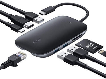 Изображение CB-C71 aluminiowy HUB USB-C | 8w1 | RJ45 Ethernet 10/100/1000Mbps | 3xUSB 3.1 | HDMI 4k@30Hz | SD i microSD | USB-C Power Delivery 100W
