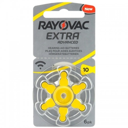 Picture of BATZA10.RYEA6; 10 baterijas 1.45V Rayovac Extra Advanced Zn-Air PR70 iepakojumā 6 gb.