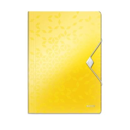 Attēls no ESSELTE Mape ar gumiju LEITZ WOW ar 3 iekš. atl., A4 formāts, dzeltenā krāsā