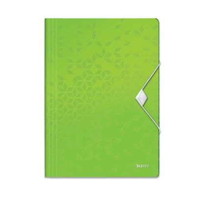 Attēls no ESSELTE Mape ar gumiju LEITZ WOW ar 3 iekš. atl., A4 formāts, zaļā krāsā