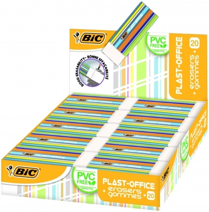 Picture of BIC Eraser PLASTOFFICE, Pouch 20 pcs 388529