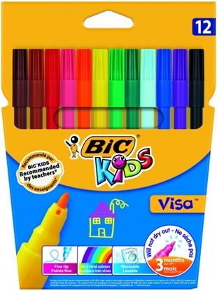 Picture of BIC Felt tip pens KIDS VISA, Pouch 12 pcs 002758