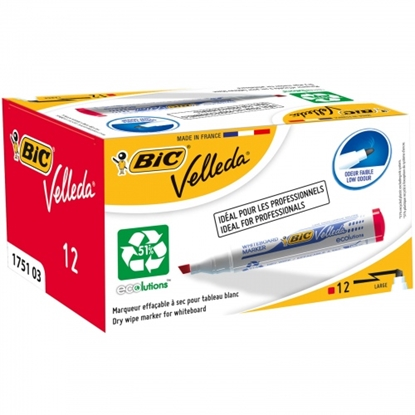 Picture of BIC whiteboard marker VELL 1751 4-6 mm, red, Pouch 12 pcs 751035
