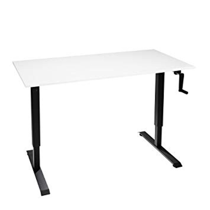 Attēls no 2-Stage Manual Sit-Stand Desk Frame, black frame, Table Top (LDF) 1200x750x25mm, white