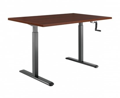 Attēls no 2-Stage Manual Sit-Stand Desk Frame, black frame, Table Top (LDF) 1500x750x25mm dark walnut