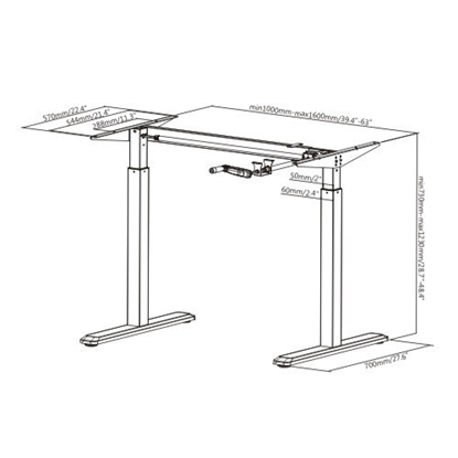 Attēls no 2-Stage Manual Sit-Stand Desk Frame, black frame, Table Top (LDF) 1500x750x25mm white